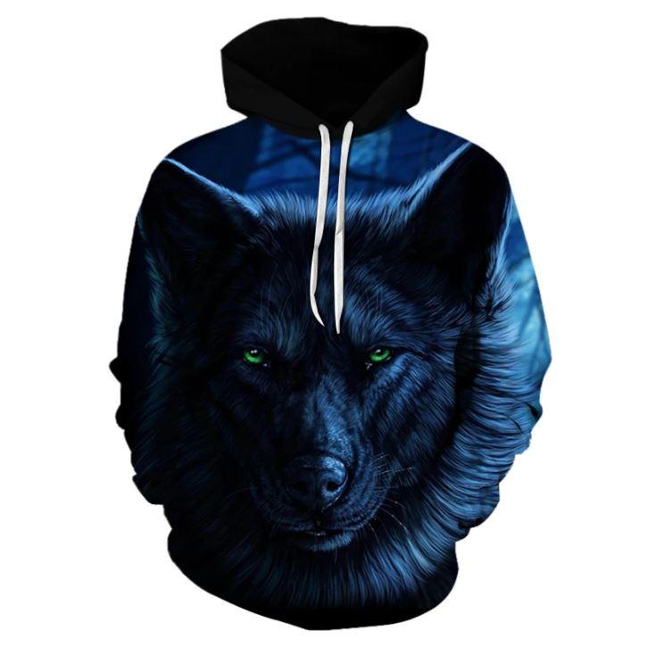 3D Pánská luxusní mikina s modrým temným vlkem až 3XL NEW - FLARO.CZ c3bb4e7999